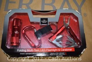Sharper Image Folding Multi-Tool, LED Flashlight & Carabiner (Red)