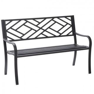 Hampton Bay Easterly Black Steel Outdoor Bench