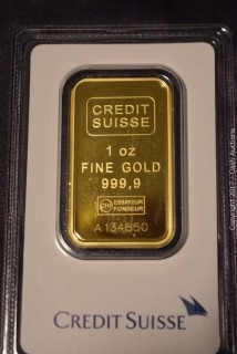 Credit Suisse 1 Troy Oz Gold Bar w/ Assay