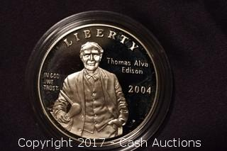 2004 Thomas Edison Commemorative Coin 1 Troy Oz .999 Silver