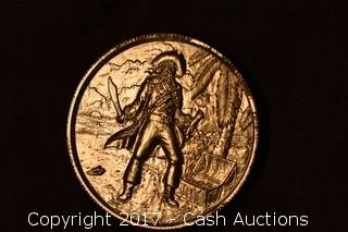 """Privateer Series """"Captain"""" 2 Troy Oz .999 Silver Ultra High Relief Coin"""