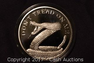 """2014 Silver Shield """"Don't Tread On Me"""" .999 Silver Troy Oz Proof Coin"""