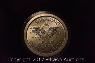 "2013 Silver Shield ""Debt and Death"" .999 Silver Troy Oz Coin"
