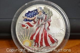 1999 Colorized American Silver Eagle 1 Troy oz .999 Silver