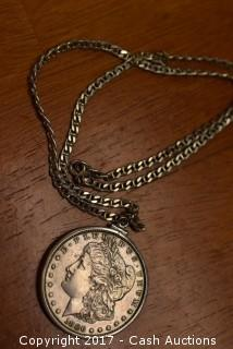 1886 Morgan Silver Dollar Necklace w/ .925 Silver Chain