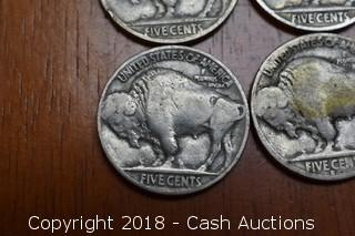 Lot of (4) Dated Buffalo Nickels