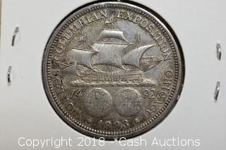 1893 World's Fair Columbian Exposition Silver Half Dollar