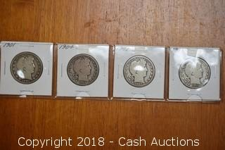 Lot of (4) Barber Half Dollars