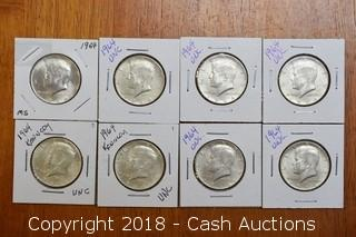 Lot of (8) 1964 JFK Half Dollars