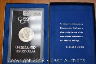 1882-CC Morgan Silver Dollar CARSON CITY MINT in Display