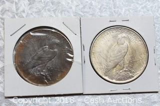 Lot of (2) 1922 Silver Peace Dollars