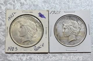 Lot of (2) 1923 Silver Peace Dollars