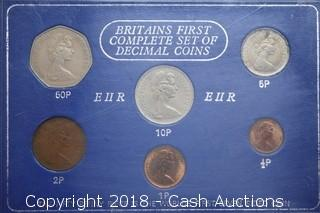 """Britain's First Complete Set of Decimal Coins"" Set"