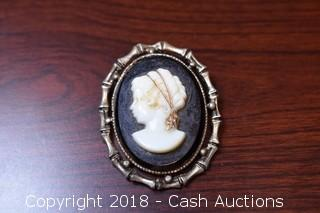 Black and Silver Cameo Pin / Necklace
