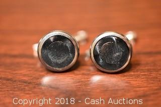 Pair of Vintage Black Textured Buttons / Cufflinks