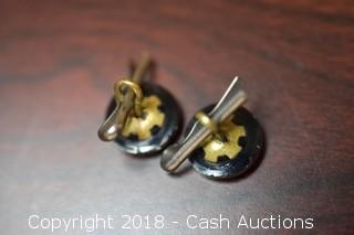 Pair of Vintage Black Glossy Buttons / Cufflinks