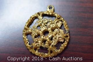 (2) Gold Toned Filigree Style Pendants