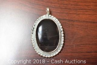 Silver and Black Agate Pendant