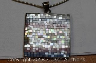 .925 Sterling Silver Necklace with Mosaic Pendant