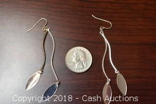 Pair of Silver Toned Leaf Dangle Earrings