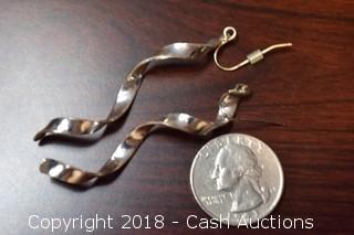 Pair of Silver Toned Spiral Dangle Earrings
