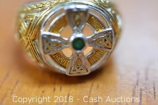 .925 Sterling Celtic Cross with Trinity Knots Ring