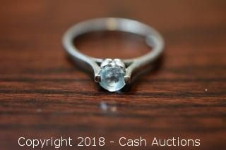 .925 Sterling Aquamarine Solitaire Ring