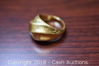Large Gold Toned Solid Cast Ring