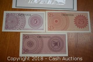 Lot of (3) 1964 Bank of Indonesia Foreign Bank Notes