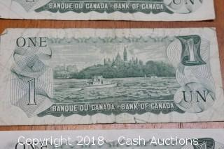 Lot of (3) 1973 Canadian Paper Dollars