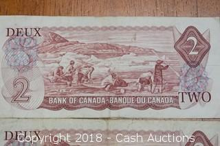 Pair of 1974 Canadian Paper $2 Notes