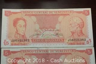 Lot of (6) Misc. Venezuelan Foreign Bank Notes