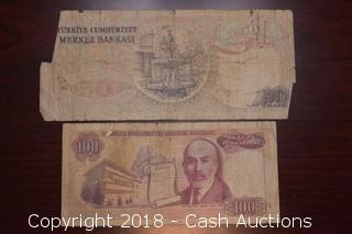 Pair of Turkish Foreign Bank Notes