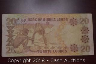 1984 Sierra Leone $20 Foreign Bank Note