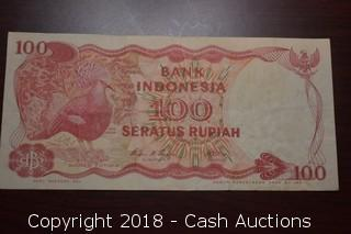 1984 Indonesia $100 Foreign Bank Note