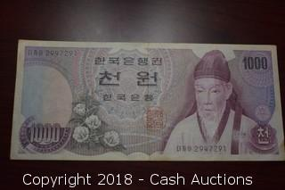 Unknown Date $1,000 Korea Foreign Bank Note