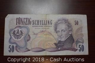 1970 $50 Austrian Foreign Bank Note