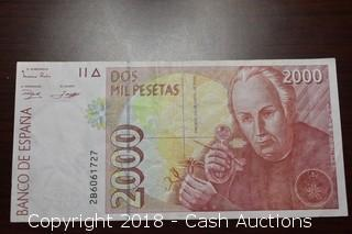1992 $2,000 Bank of Spain Foreign Bank Note