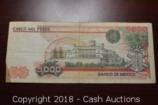 1983 Bank of Mexico $5,000 Foreign Bank Note