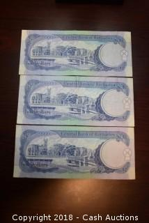 Lot of (3) Bank of Barbados $2 Foreign Bank Notes