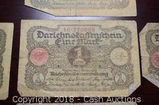 Lot of (5) 1920 German $1 Foreign Bank Notes