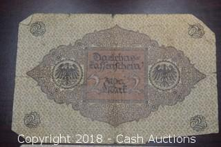 Lot of (3) 1920 German $2 Foreign Bank Notes