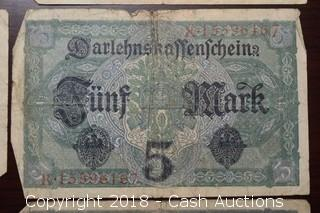 Lot of (6) 1917 German $5 Foreign Bank Notes
