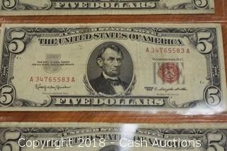 Lot of (4) 1963 Red Seal U.S. $5 Bank Notes