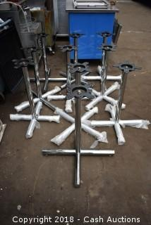 Lot of (10) New Chrome Table Bases