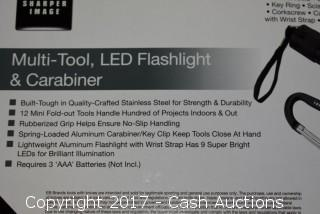 Sharper Image Multi-Tool, LED Flashlight & Carabiner (Black)