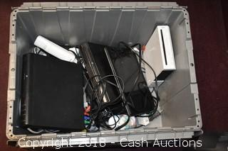 Bin of Misc Electronics (Wii, DVD/CD Players, EMachines Laptop, Etc.)