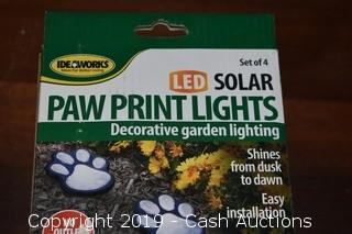 (2) IdeaWorks LED Solar Paw Print Decorative Light 4-Piece Set