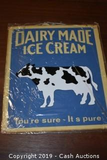 """Dairy Made"" Tin Sign"