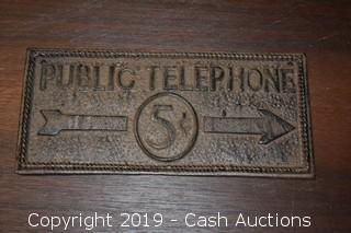 Public Telephone Wall Sign